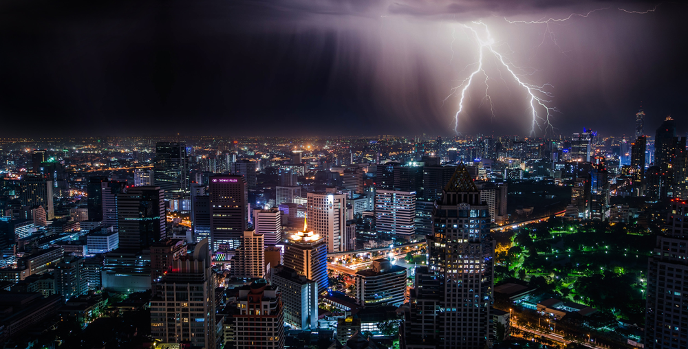 Thunderstorm over city